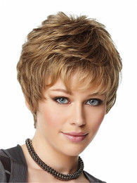 Chinese  Dark blond layered short hair wig with bang Heat resistant fiber synthetic wig capless fashion wig for women manufacturers