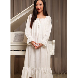 8e2a9ae671 Women nightgowns white spring autumn 100% cotton princess royal vintage  sleepshirts long-sleeve long sleepwear fashion lounge