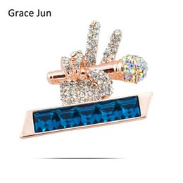 Gold hijab pins online shopping - Top Quality Austria Crystal Rhinestone Microphone Hand Brooches for Women Party Wedding Hijab Pins Brooches Clothes Buckles