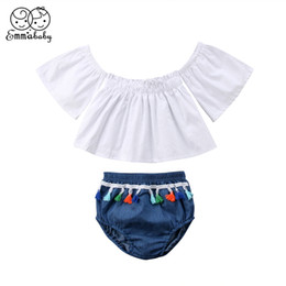 Cute Baby White T Shirt Australia - Emmababy 0-3Y Cute Baby Girls Summer girl Off Shoulder White t shirt Tops denim Shorts Toddler girl Outfits Clothes Set