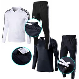 Wholesale Football tracksuit TOP THAI QUALITY new Madrid Real men s soccer chandal white Black adult training suit skinny pants Sportswear