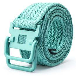 Brand New Alta Qualidade Barato Moda Feminina e Cintos de Lazer Esporte Dos Homens Anel Duplo Fivela Cintos de Lona Cintura