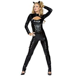 China Catwoman With Headwear Catwoman Front Hollow Out Suit Halloween Dress Set Skinny Jumpsuit Cosplay Wear Bodycon Jumpsuit suppliers