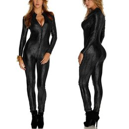 9c0e192ee6 2019 New Sexy Womens Ladies Wet Look Jumpsuit Bodysuit Leather Club Catsuit  Costume Playsuits Size M-2XL