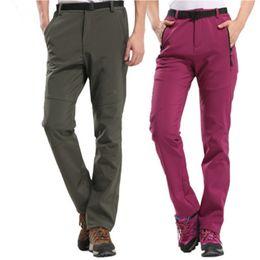 Warm Waterproof Pants Men NZ - thick warm fleece skiing pants for men and women soft shell waterproof outdoor clothes S-5XL