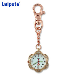 Flower Brooch Black Gold Canada - Crystal Flower Shape Clip-on Fob Quartz Brooch Hanging Nurse Watch glow in the dark Women Full Steel Pocket Watch relogio Clock