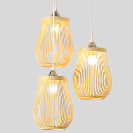 China Handmade Bamboo LED Pendant lamp Wood pendant light 1 3 head For Lounge dinning Room Vintage Susoension Duplex Mall lighing G007 cheap kitchen lounge suppliers