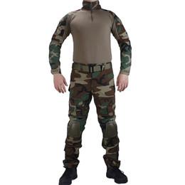 Combat bdu uniform online shopping - Camouflage BDU Woodland Combat uniforms shirt with broek and elbow knee pads militaire game cosplay uniform ghilliekostuum