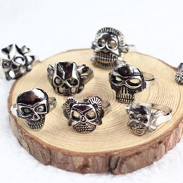 Wholesale pole dance clothing resale online - Punk Skull Ring Simple Personality Bikers Man Woman Vintage Tibetan Rings Lovers Arts Crafts Gifts Clothing Accessories tn bb