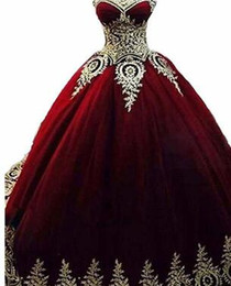 Coral gold quinCeanera dresses online shopping - Royal Blue Burgundy Gold Lace Quinceanera Dresses Ball Gown Vestidos de Anos Applique Puffy Sweet Prom Dress Muslim
