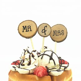 3pcs Set Vintage Wooden Cake Decorations Mr And Mrs Topper For Wedding Party Decoration Dessert Baking Tools