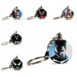 $enCountryForm.capitalKeyWord NZ - 6styles Venom crystal Key ring toy mini spiderman keychain metal pendant halloween xmas props gift Game Accessories toys FFA980 50PCS