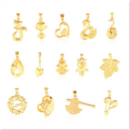 Discount fox pendant gold - Mixed 14 Styles Gold Pendant For Necklace Making Fashion Swan Fox Angel Heart Leaf Pendant Charms Mountings Jewelry Acce