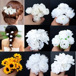 White Rose Wedding Hair Clips NZ - SHUANGR Wedding Bridal Hairpin White Rose Flower Crystal Rhinestone Hair Pin Beauty Hair Clip Women Accessory Jewelry