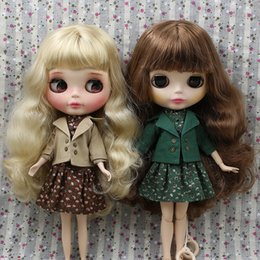 Pvc outfits dresses online shopping - blythe doll Outfits for Blyth doll Green and Brown dress and coat for the JOINT body cool dressing licca icy jerryberry pullip