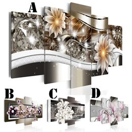 blossom spray NZ - Wall Art Picture Printed Oil Painting on Canvas No Frame 5pcs set Home Decor Extra Mirror Border Peach Blossom Lily Flower