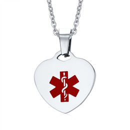 medical alert jewelry UK - Titanium Steel Heart Shape Medical Alert ID Pendant & Necklace for Women Fashion Jewelry