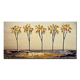Chinese  Large Size Handmade Canvas Wall Art Painting Of Modern Landscape Trees With Golden Color For Decoration manufacturers