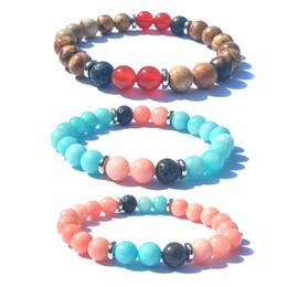 oil bracelets 2019 - 8mm Red Amazonite Stone Alternate Black Lava Stone Beads Bracelet DIY Essential Oil Diffuser Bracelets Stainless spacer