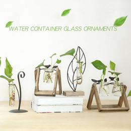 Vaso decorativo di vetro del fiore del bonsai della pianta da tavolo di vetro moderno di stile del pino con il vassoio di legno Accessori della decorazione della casa