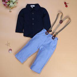 Boy Chinese Suit NZ - boy suit 2018 summer new boys clothes set summer baby clothing sets beautiful gentleman shirt+pants children suit