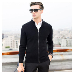 $enCountryForm.capitalKeyWord Canada - High Quality Winter Thick Warm Cashmere Cardigan Men Zipper Turtleneck Knitwear Men Brand Clothing Merino Wool Sweater Coat M-051
