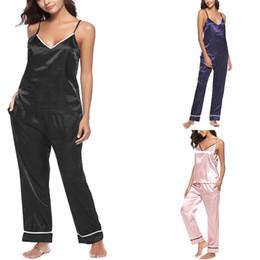 deea65866a12a Pyjamas de soie pour femme en Ligne-Pyjamas en soie à bretelles Vêtements d