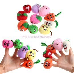 vegetable puppets Canada - 10X Family Fruits&Vegetable Finger Puppets Cloth Doll Baby Educational Hand Toys #H055#