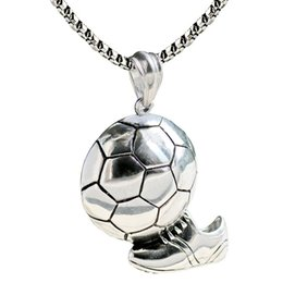 sports slides UK - Sport Football Pendant Necklace Mens 316L Stainless Steel Chain Ball Soccer Necklace Punk Sports Unisex Sports Team Jewelry 2018