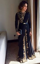 Long Evening Prom Dress NZ - Saudi Arabic Abaya Evening Dresses For Indian Gold Appliques Lace Pakistan Prom Dresses Formal Party Long Sleeve Vintage Boho muslin evening