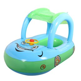 Kids Inflatables For Pools NZ - Cute Baby Float Seat Boat with Inflatable Ring Cartoon Car Swim Boat Pool Ring Seat With Sunshade & Canopy For Kids Baby Infant