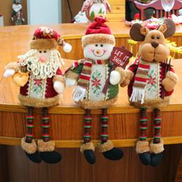 $enCountryForm.capitalKeyWord NZ - 3PCS Set Super Cute Christmas Plush Toy Long Leg Sitting Santa Clause Snowman Reindeer Doll Christmas Ornaments