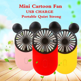 China Newest Creative Mini Cartoon Mickey Fan Handheld LED Light USB Charge 3 Colors USB Electronic Mini Hand Portable Fan With Free Finger Ring suppliers