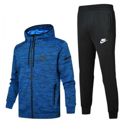 Chinese  &#78IKE 2018 men's full zip tracksuit men sport suit white cheap men sweatshirt and pant suit hoodie and pant set sweatsuit men 345-276 manufacturers