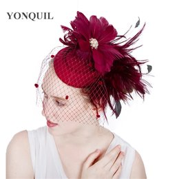 black elegant hair Canada - 19Colors available feather flower headband hair clips elegant women veil wedding church wool fascinator hat bridal hair accessories SYF154