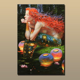 art reproductions canvas NZ - Victor Nizovtsev Oil Painting Fantasy Mermaid series Art Reproduction Giclee Print on Canvas Modern Wall Home Art office Decoration VN054