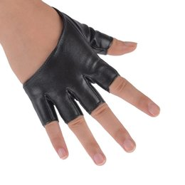 Sexy Leather Black Gloves NZ - Man-made leather sexy dancer modelling Fashion Half Finger PU Leather Gloves Ladys Fingerless Driving Show Pole Dance