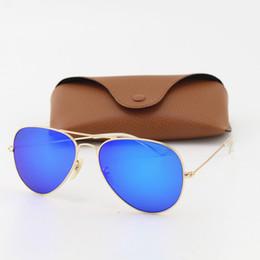 8b9649cc58 1pcs gafas de sol de moda piloto de diseño de alta calidad para hombres  mujeres marca Vassl gafas de sol marco de oro mate espejo azul 58 mm con  caja de ...