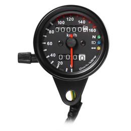 Vente en gros DC 12 V Universel Moto Compteur Compteur Odomètre Double LED Rétro-Éclairage Nuit Lisable Vitesse Compteur Gauge Moto Instrument