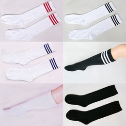 $enCountryForm.capitalKeyWord NZ - Anime Cosplay Stockings Black White Blue Red Stripe Stocking Japanese Cartoon Stockings For Women Girls Cotton Long Warm Hose