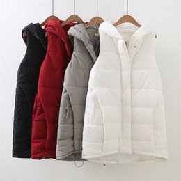 8639e61cd37 4XL Loose White Cotton Vests For Women Plus Size Long Winter Coat Thick  Warm Female Vest A-Line Hooded Casual Sleeveless Jacket