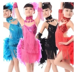 $enCountryForm.capitalKeyWord Canada - New children Kids Girls Latin dance dress Sexy feather Sequin Tassel tango ballroom costumes Practice Dance Dress black Blue Red Rose yellow