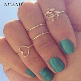 Großhandel Midi Knuckle ringe 4 teile / satz Einzigartige Ring Set Gold Farbe Knuckle Punk Ringe für frauen finger engagement hochzeit ringe sets