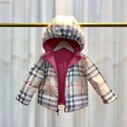 Ingrosso Nuovo piumino da bambino da ambo i lati indossando piumino ragazzi e ragazze addormentati giacca anatra bianca con cappuccio caldo