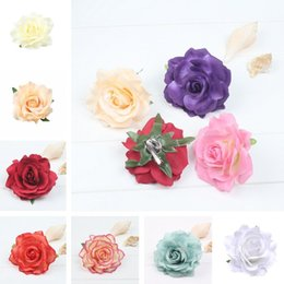 Fabric Hair Brooches Australia - 19 styles Simulation Rose Hairpin Seaside Sandy Beach Woman rose brooch Flower Simulation Rose Hair Pin T6I055