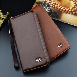$enCountryForm.capitalKeyWord Canada - 2017 New Long style Men's leather wallets Large Function Hand Strap Take Zipper Open Multi Bits ID Credit Card Holder Wallets