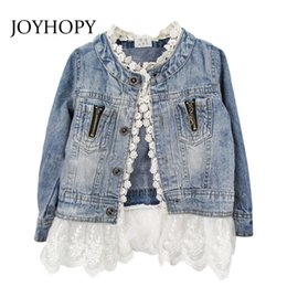 486b8535afab78 Girls Sleeveless Denim Jacket UK - Spring Autumn girls outerwear Lace  Cowboy Denim Jacket Top Button