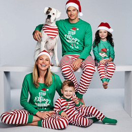 Xmas Kids Adult Family Matching Christmas pajamas Letters STOP Elfing  AROUND Striped Nightclothes Pyjamas Sleepwear 2018 New Wholesale 997c56097