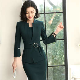 dress styles for working women 2019 - 2018 New Styles EleUniform Designs Blazers Suits With Two Piece Jackets And Dress For Women Business Work Wear Sets chea