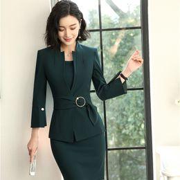 2018 Novos Estilos EleUniform Designs Blazers Ternos Com Duas Peças Jaquetas E Vestido Para As Mulheres de Negócios Conjuntos de Desgaste do Trabalho em Promoção